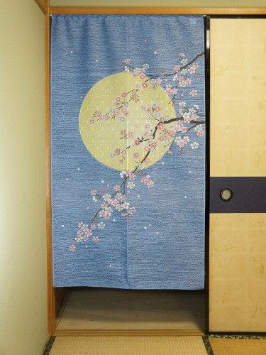 Noren Moon Sakura Flowers