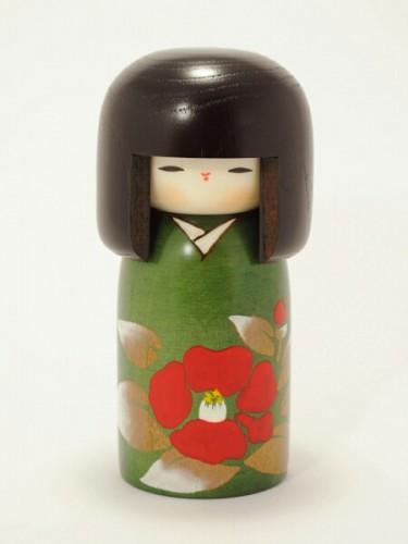 Kokeshi Green Tsubaki no Sato