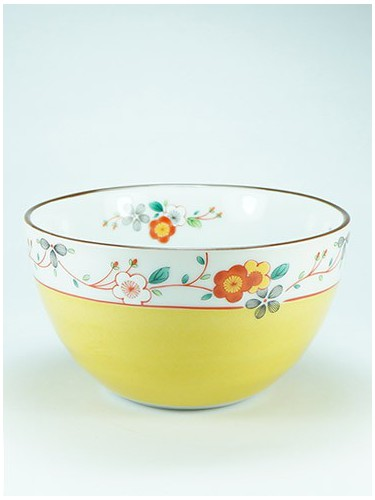 Yellow and flower bowl Osai Koume