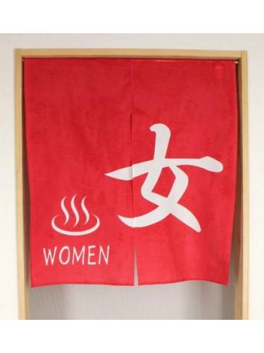 Noren rouge Onsen Kanji Onna femme